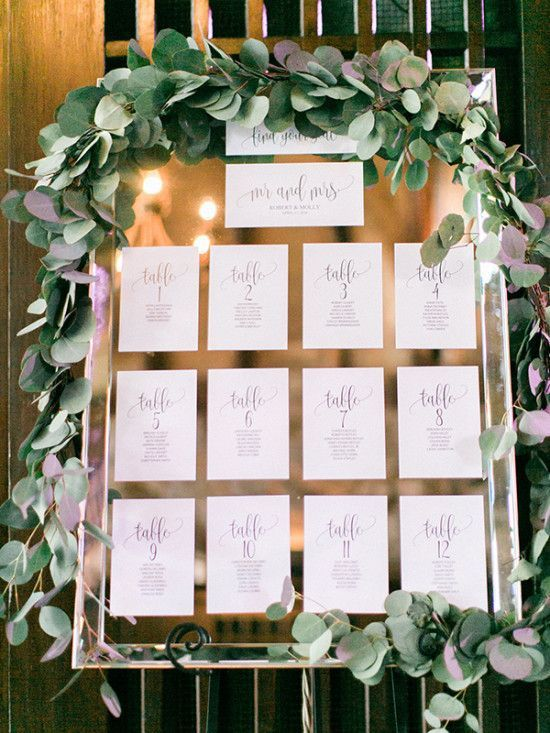 mirror seating chart with printed paper and eucalyptus