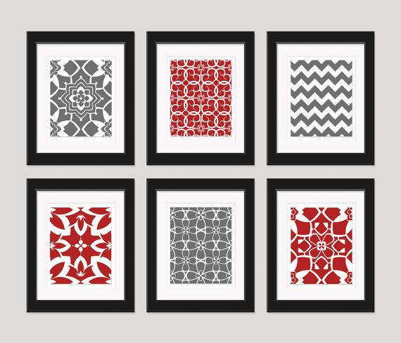 Items Similar To Red And Grey Art Prints, Modern Art Print Set, Home Decor,  Set Of 6   8x10 Prints, Bedroom Decor, Dining Room Art, Red Grey Wall Art  On ...