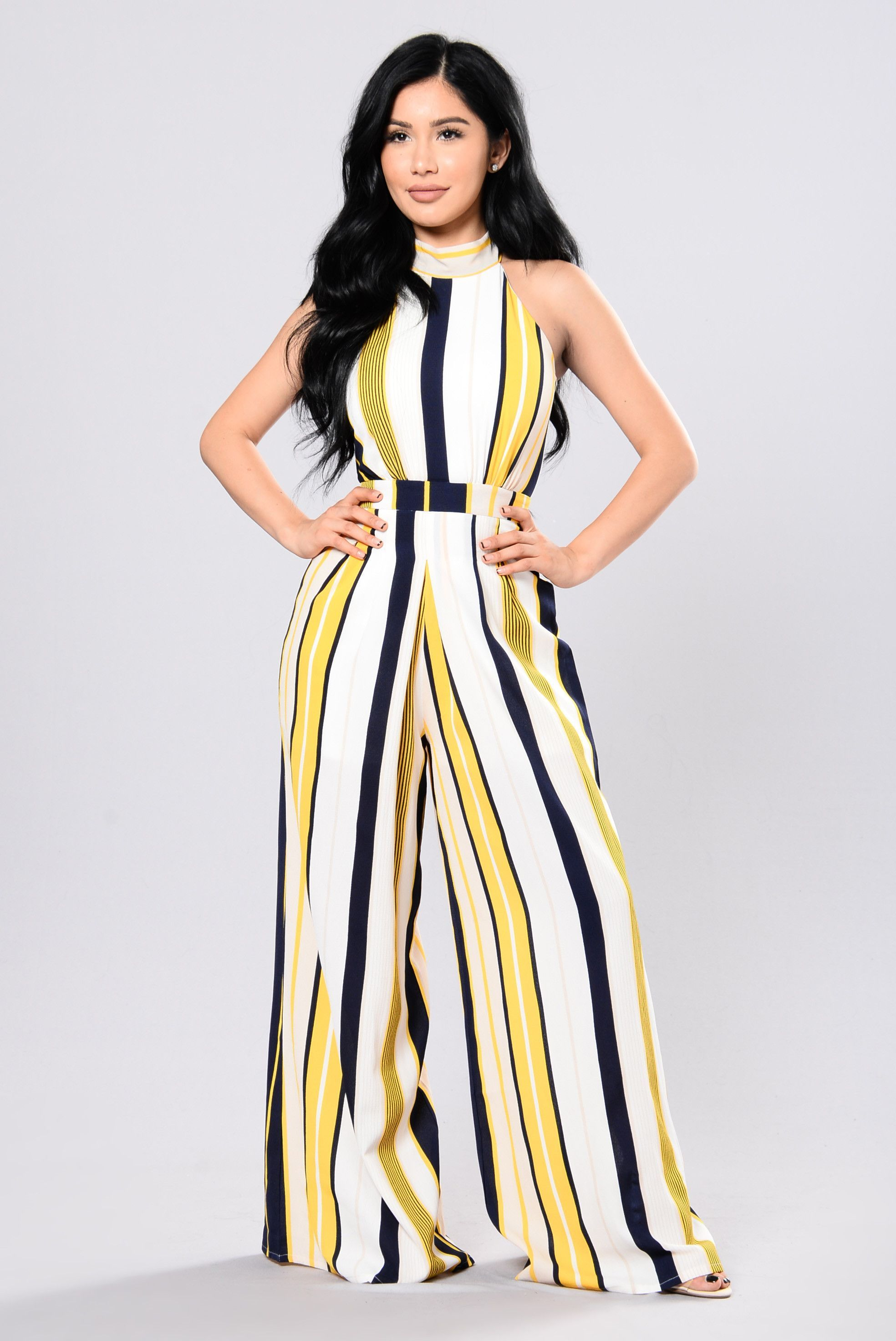 afcf9a2cdd0 Spot Light On Me Jumpsuit - Yellow Navy