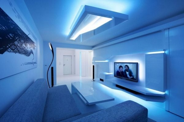 White Stripes Futuristic Living Room Interior Design Integrated Led