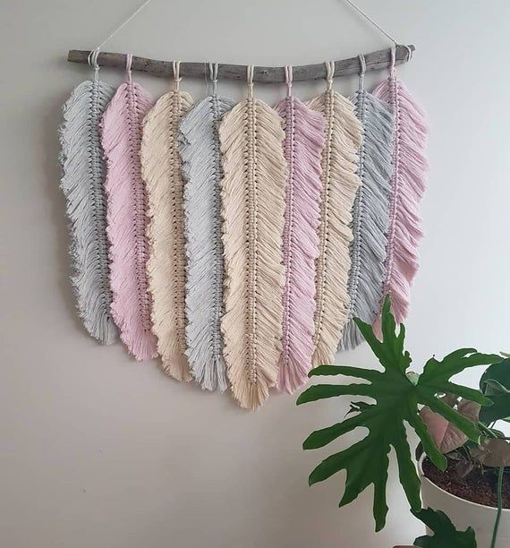 Macrame feather hanging