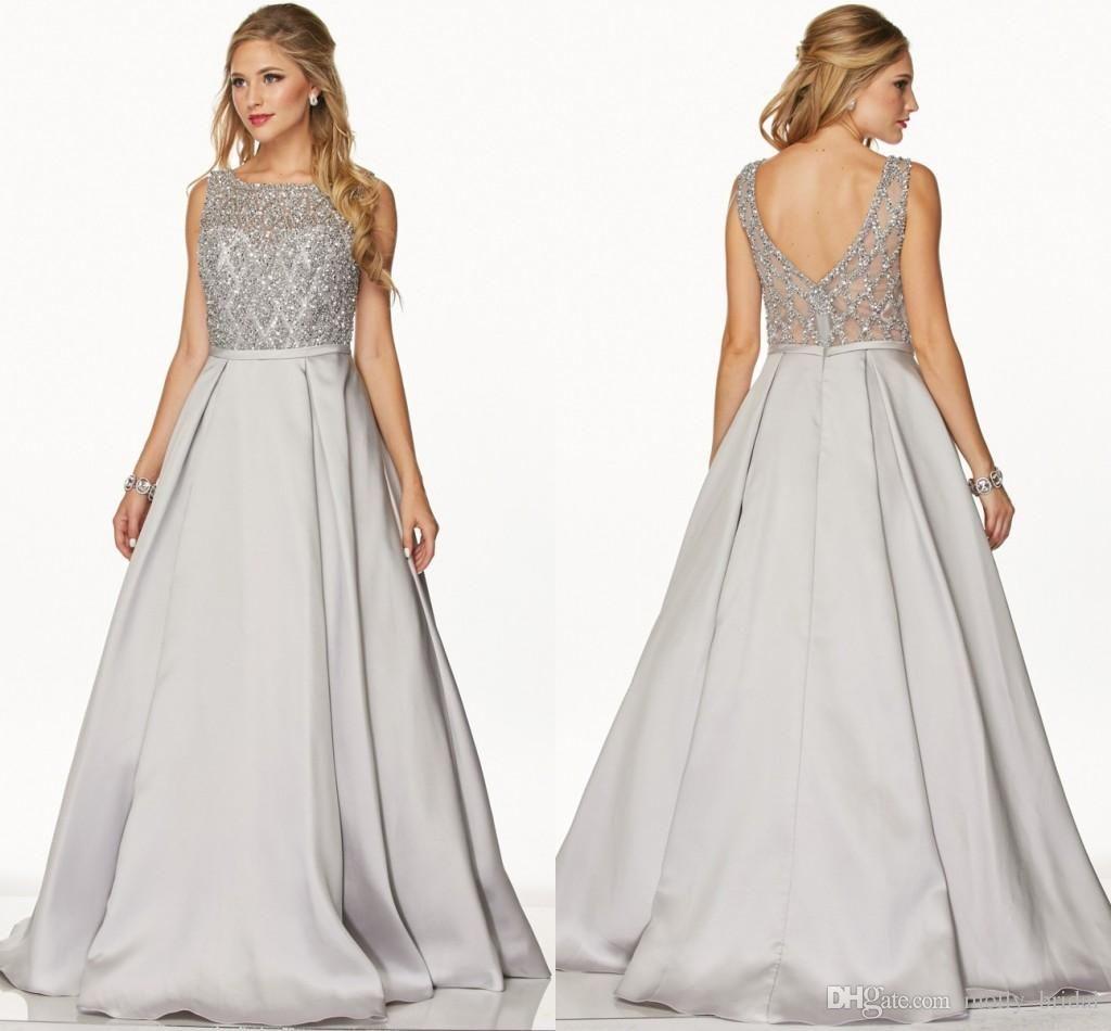 designer silver prom dresses long ball gown fully beaded