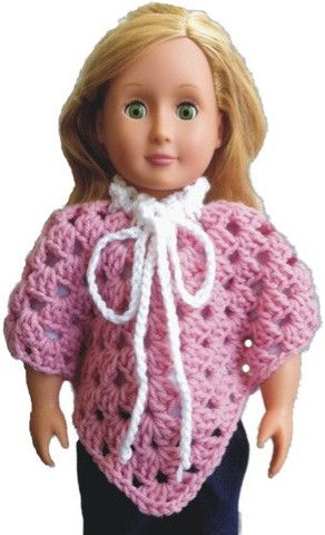 """Maggie's Crochet · Free 18"""" Doll Granny Poncho FREE Pattern ~**This will fit a Preemie and would be adorable, although the tie/cord should NOT be made so long to avoid any chocking hazard**"""