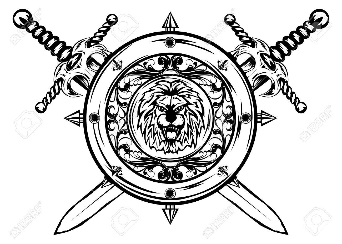 Triforce linework. Stock vector tattoo sword