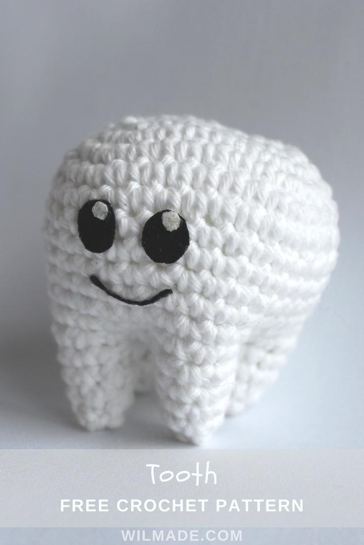 Tooth crochet pattern - free molar crochet pattern | Tejido ...