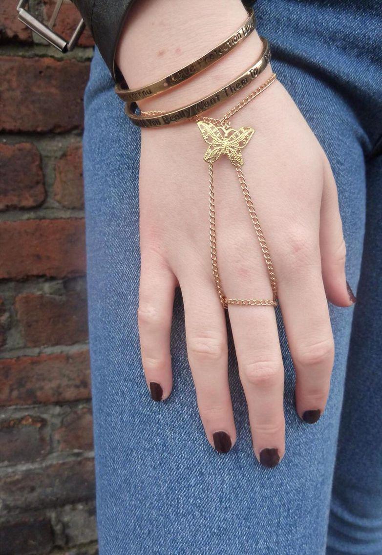 16 Braunton hand jewellery. Gold butterfly filigree hand harness.