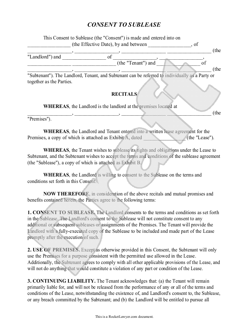 Sample Consent To Sublease Form Template  Business Letters