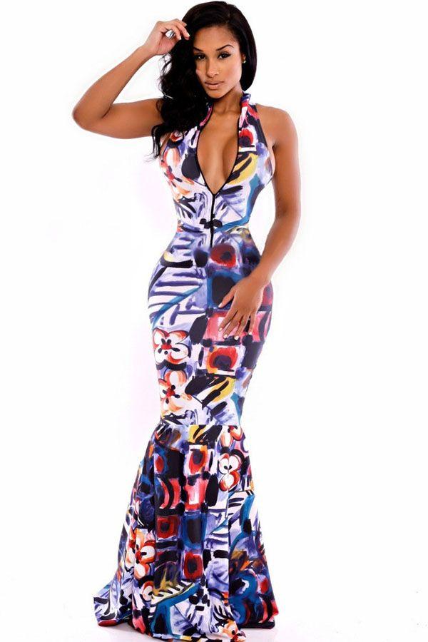 554c9b195e5d Novelty Printed Mermaid Maxi Dress Elegant Maxi Dress, Sexy Long Dress,  Sexy Maxi Dress