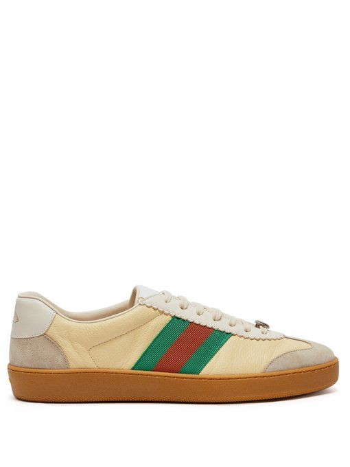 JBG leather and suede low-top trainers Gucci Pudzu