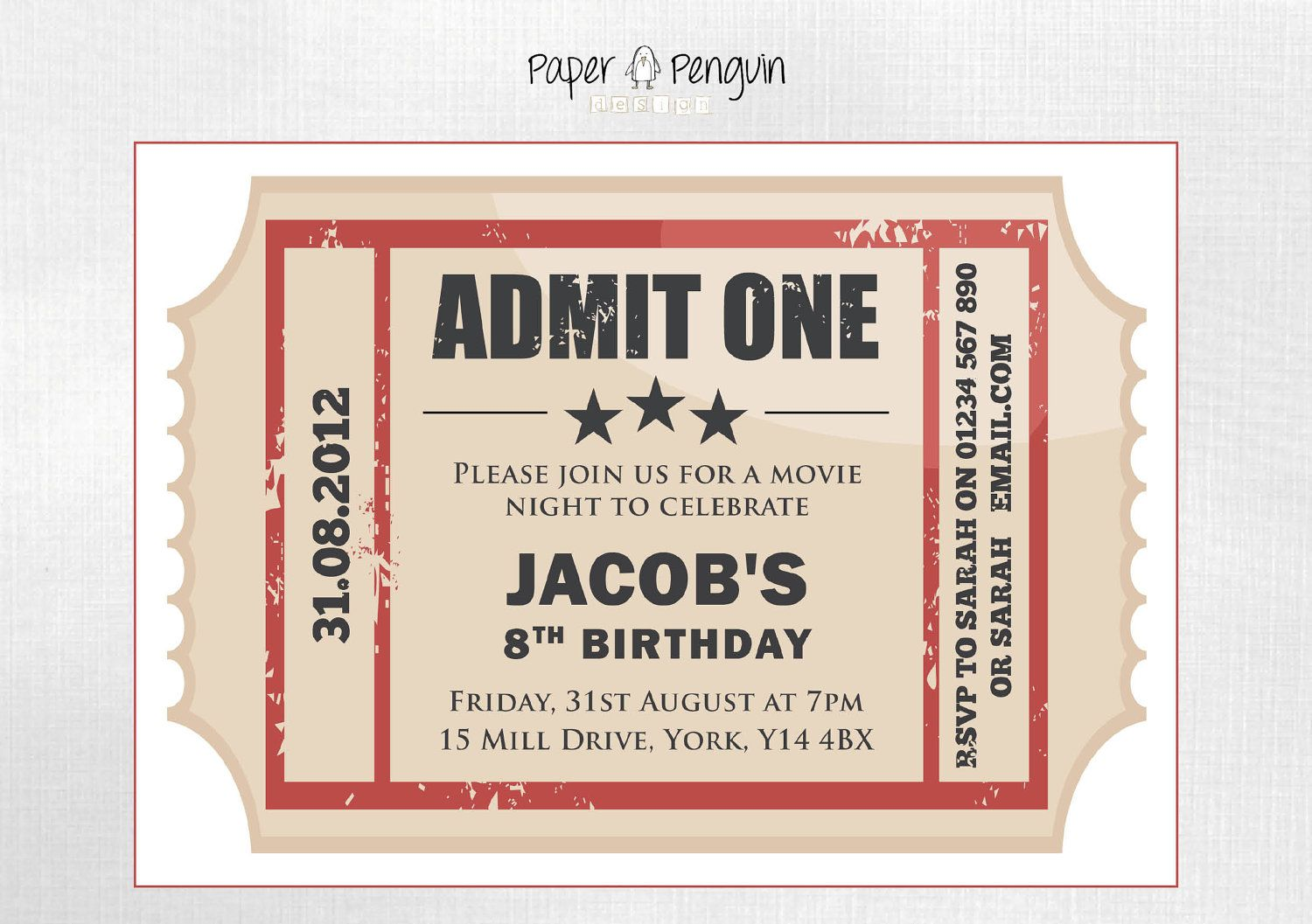 Personalized Kids Movie Ticket Party Invitation printable digital