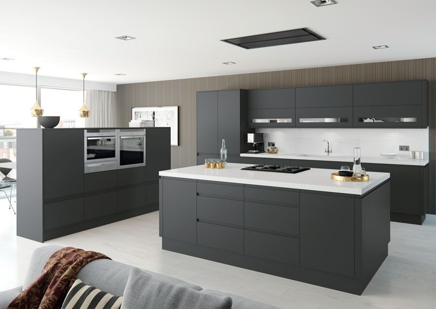 Moda Matt Anthracite Handleless Kitchen Units Modern Kitchen - Anthracite grey kitchen units