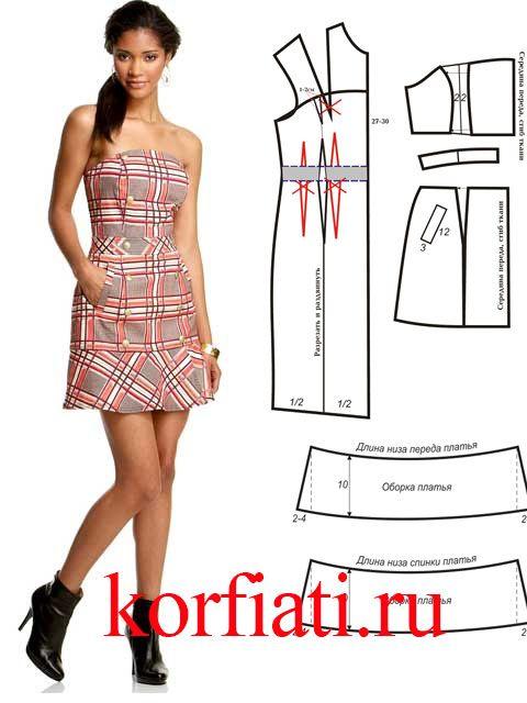 Выкройка платья из клетчатой ткани