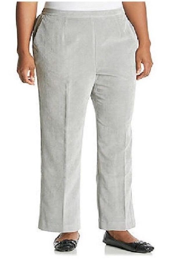 3683f517 ALFRED DUNNER GLACIER LAKE GREY CORDUROY PANTS - SIZE 10 ...