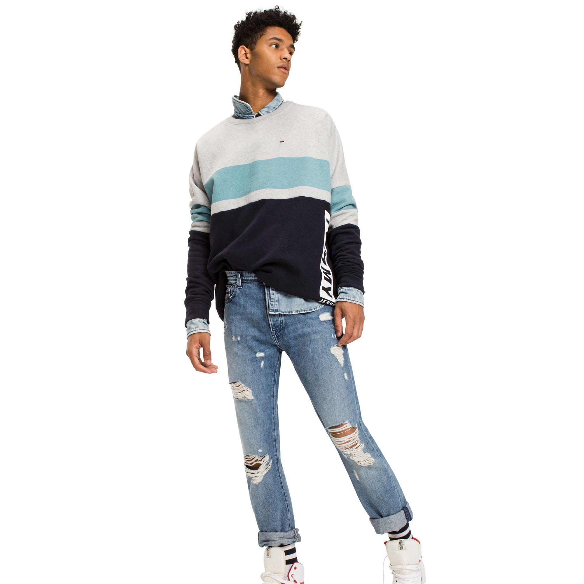 456badb0fef9d0 Tommy Hilfiger Colorblock Stripe Sweatshirt - Black Iris Multi L ...