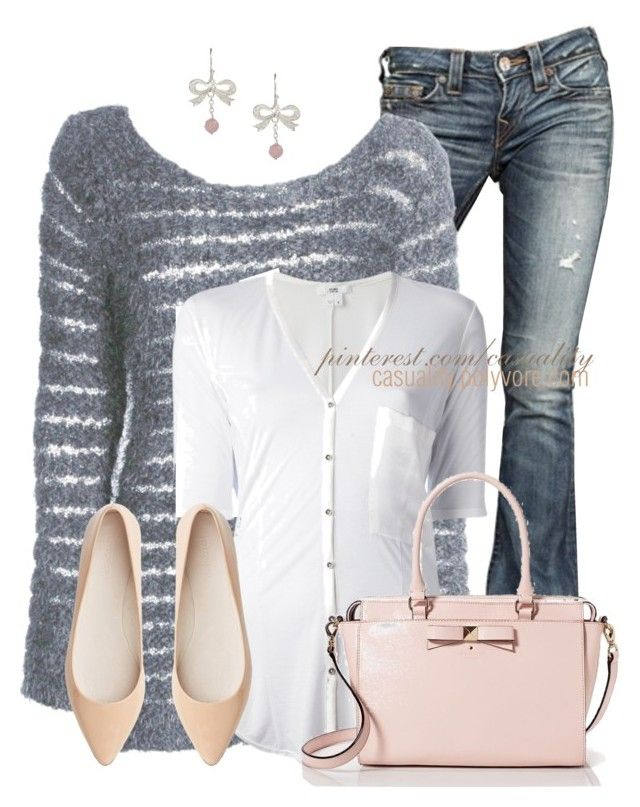 """""""Kate Spade Casual Neutrals"""" by casuality ❤ liked on Polyvore featuring True Religion, Boohoo, Helmut Lang, Kate Spade, Witchery and Van Peterson 925"""
