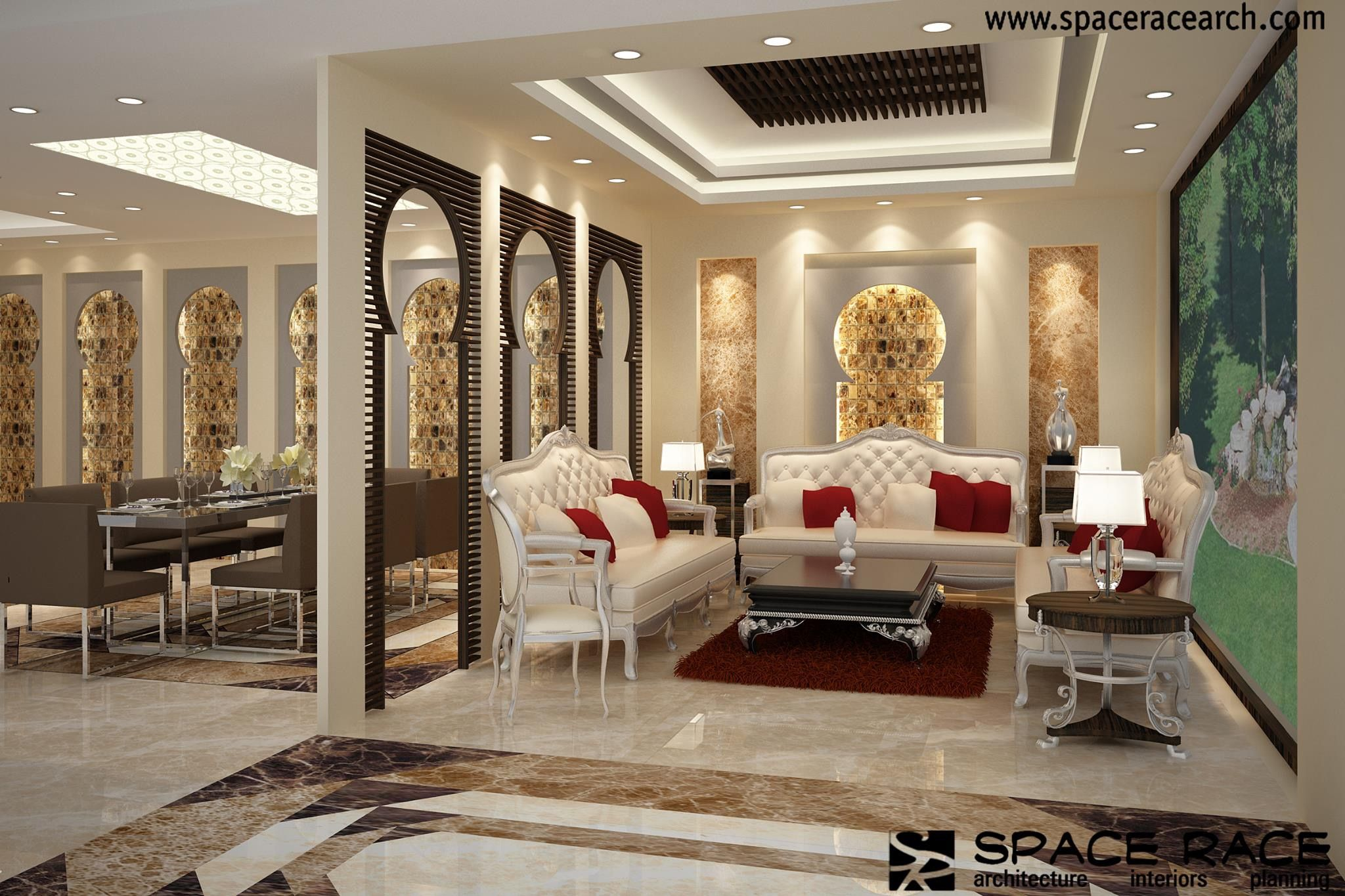 Moroccan Style Partition Window Sculptural Interior Silver