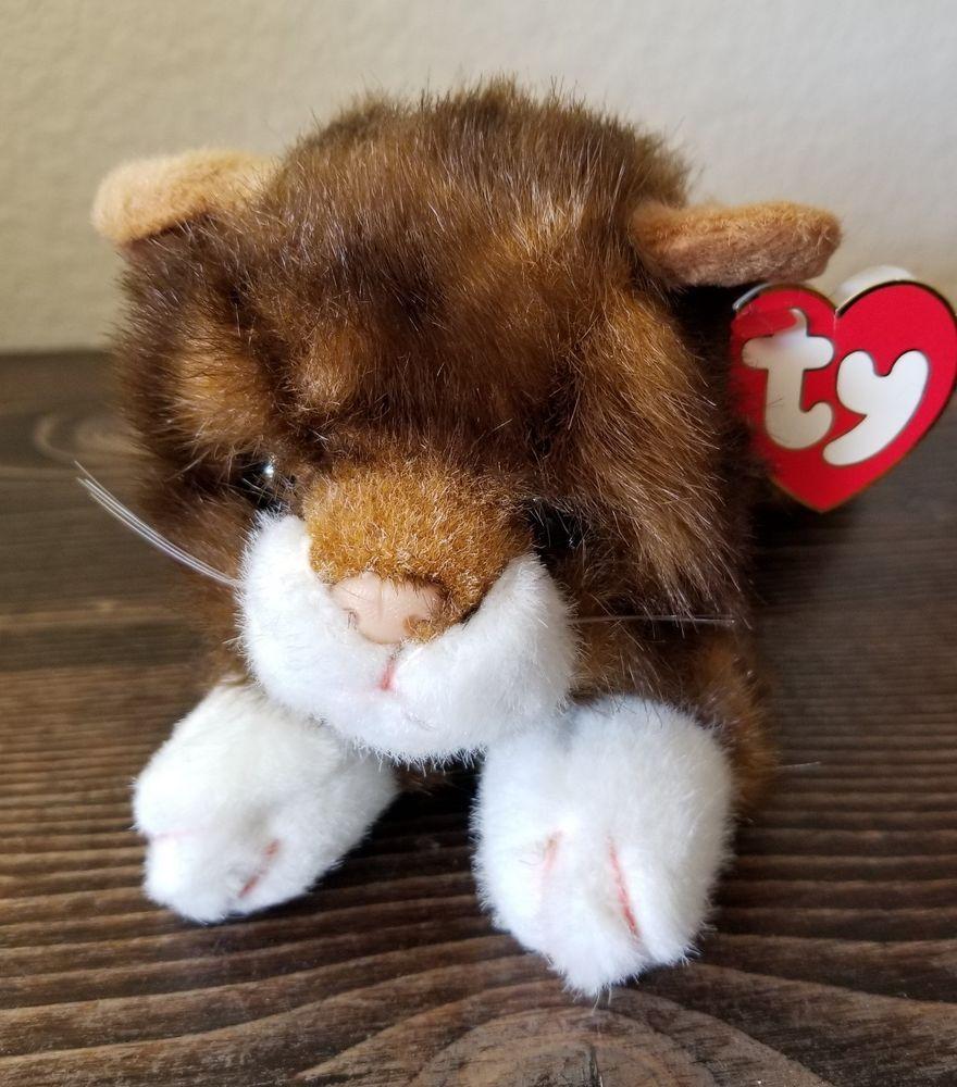 Ty Tabby Cat Plush Spice Calico Stuffed Animal Brown Kitten 12