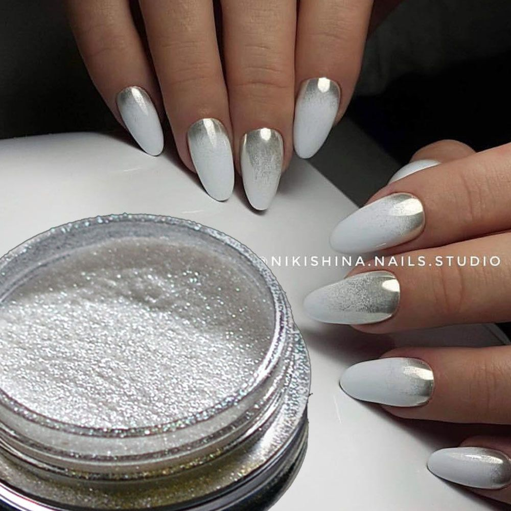 US $1.14 25% OFF|1 stücke Silber Spiegel Magie Pigment Pulver Maniküre Staub Glänzende Gel Polish Nail art Glitter Chrom Pulver Flake Dekorationen BE04S 1-in Nagelglitzer aus Haar & Kosmetik bei AliExpress