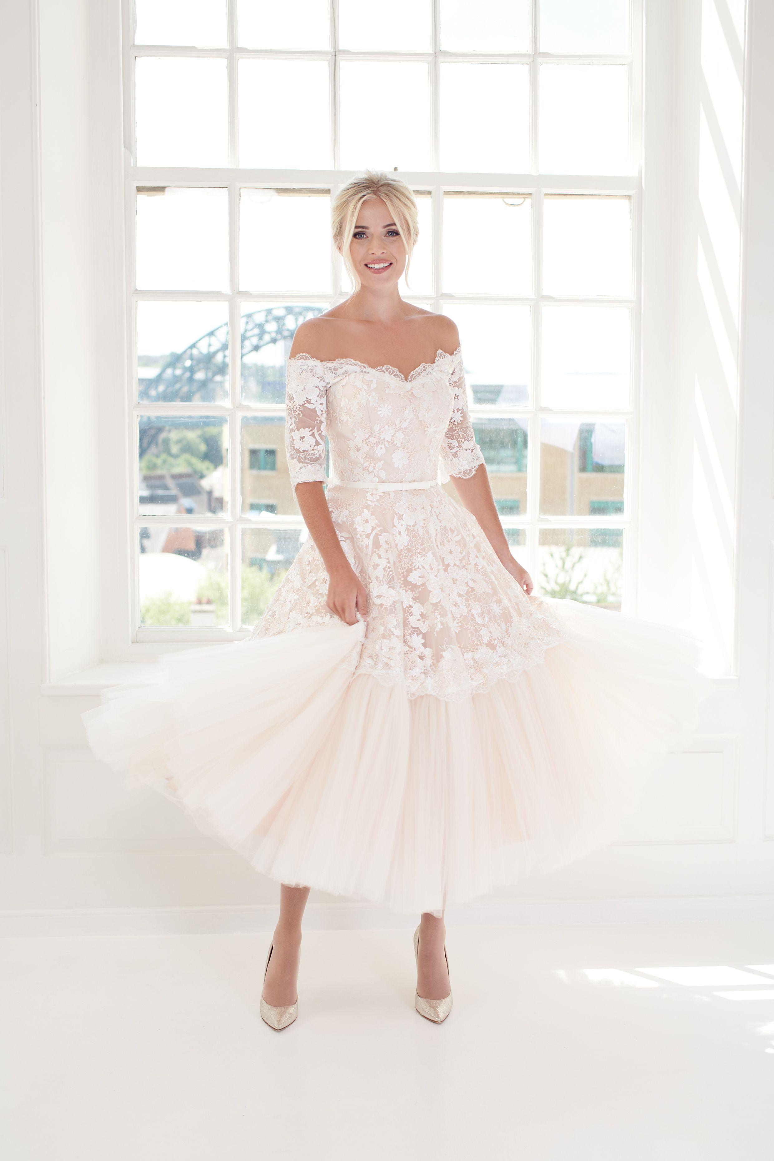 Dolores | Blush pink wedding dress, Short wedding dress ...