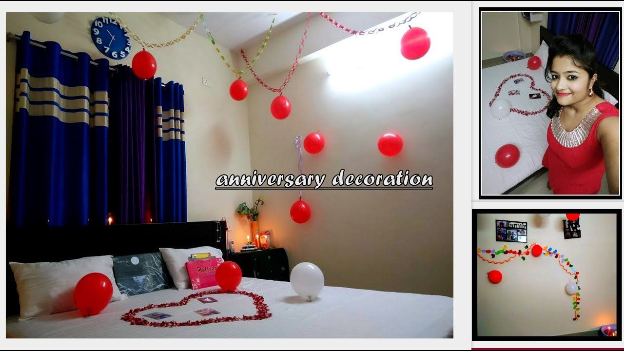 Room Decoration First Wedding Anniversary Decoration In Less Time Anniversary Decorations Wedding Anniversary Decorations First Wedding Anniversary