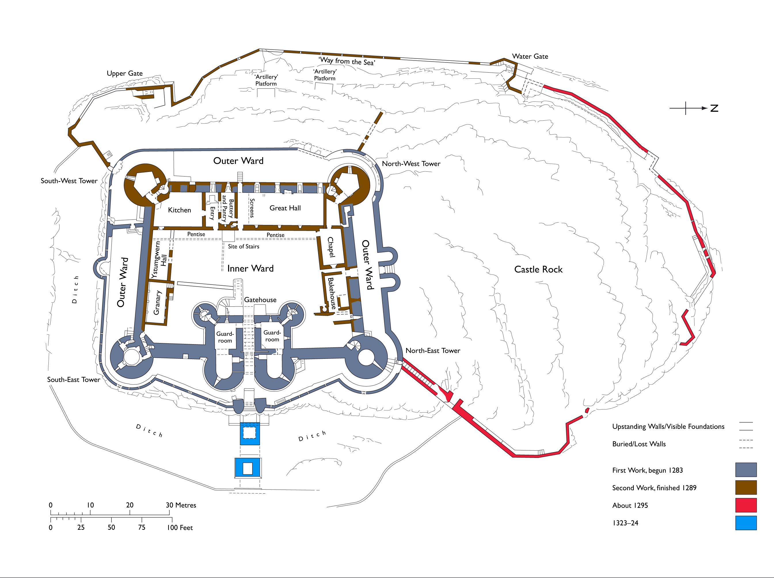 106-GOTHIC, Secular buildings, England - Site plan, Harlech Castle ...