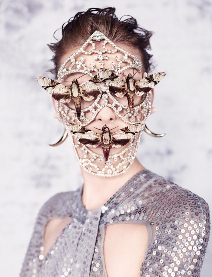 Dazed Digital | EXCLUSIVE FILM: Butterfly by Alexandros Pissourios  mask jewels gems moth wings decor precious sequins purple grey brown