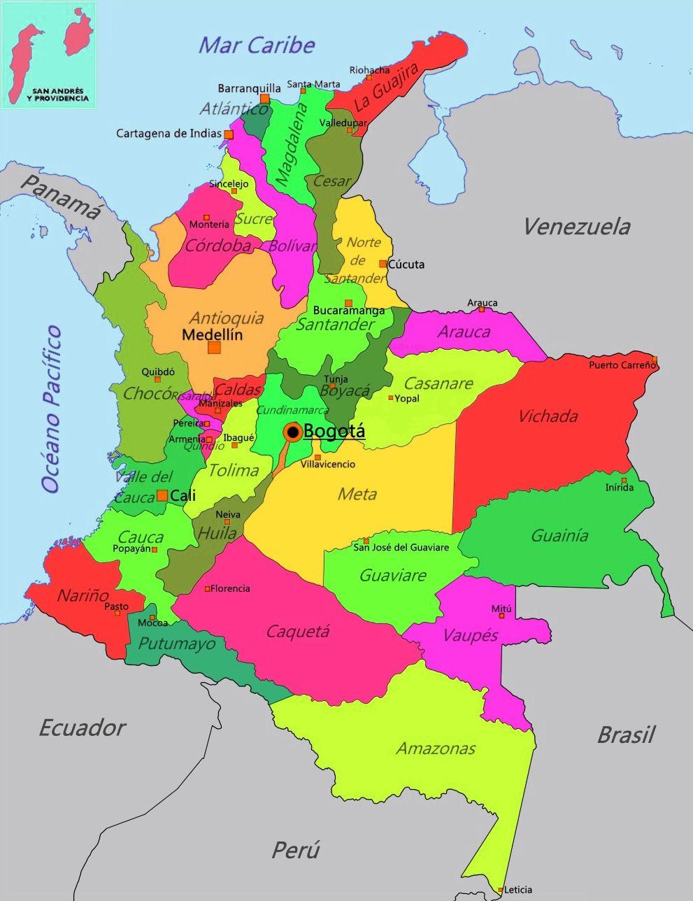 Mapa Politico Estados Unidos De Colombia.Mapa De Colombia Con Sus Departamentos Y Capitales En 2019