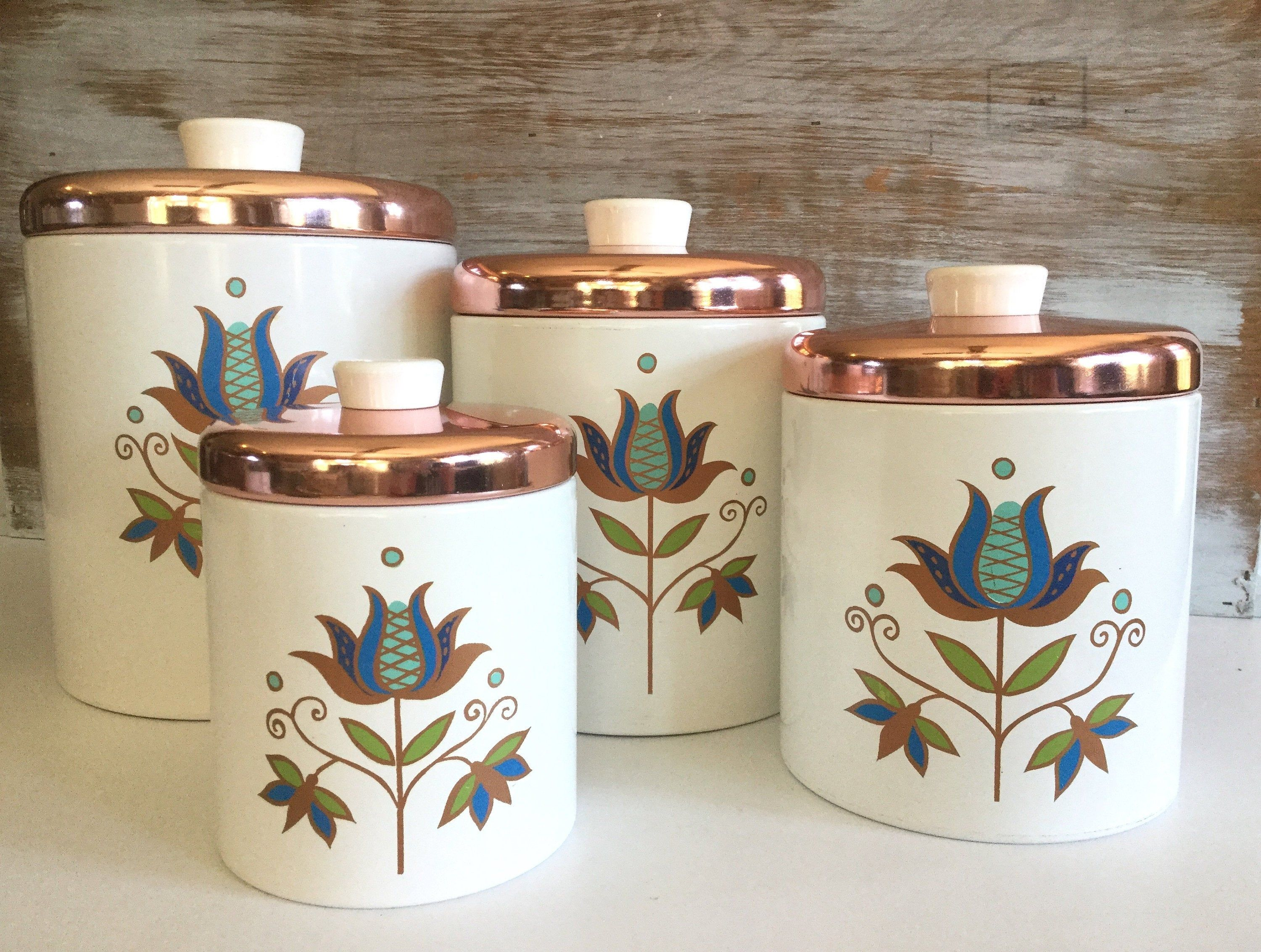 Retro Kitchen Canister Set Ransburg Metal Canisters Vintage