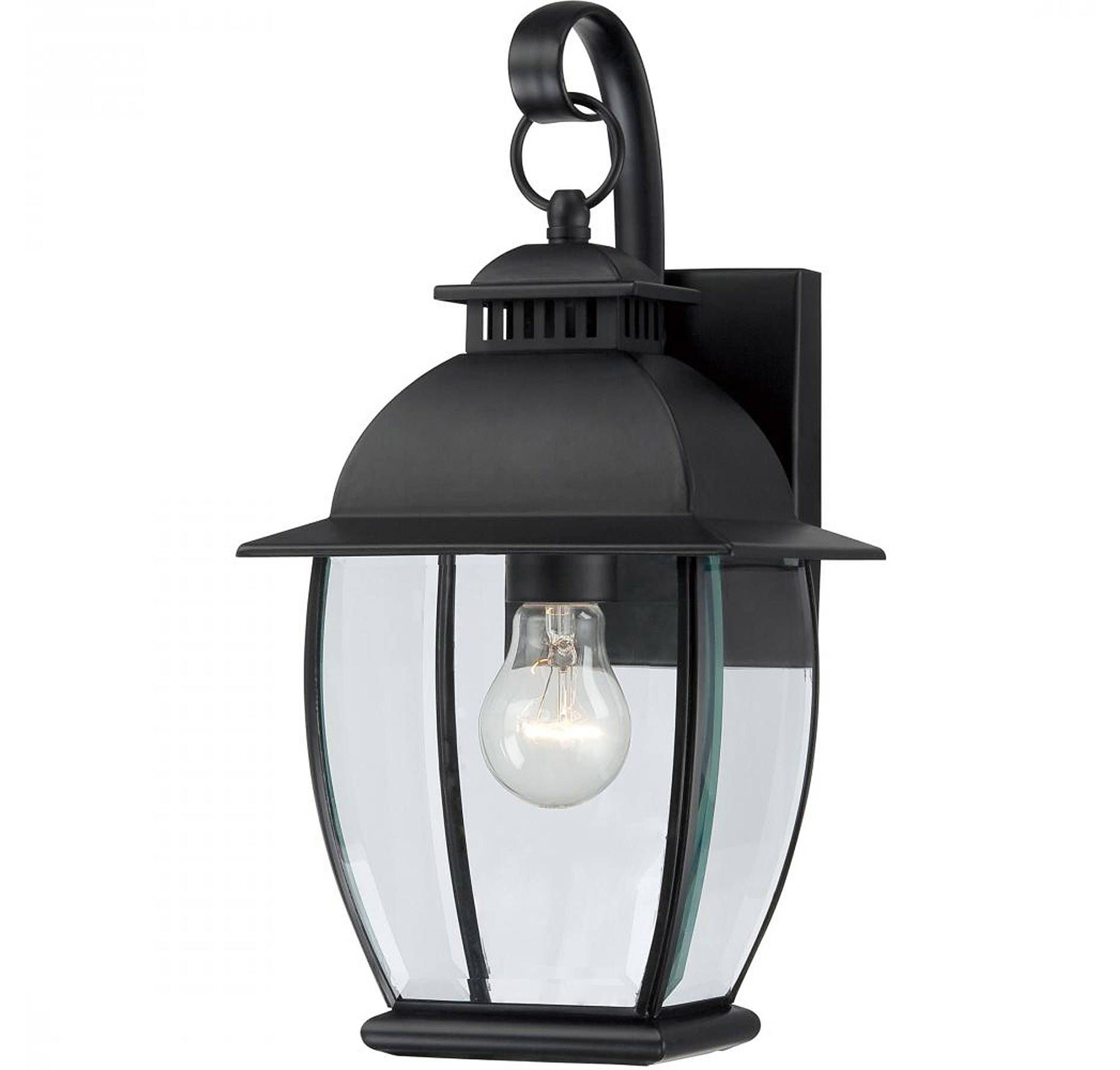Quoizel BAN8407KFL Bain 1-Light Outdoor Lantern in Mystic Black in Outdoor Lights, Outdoor Wall Lights: ProgressiveLighting.com