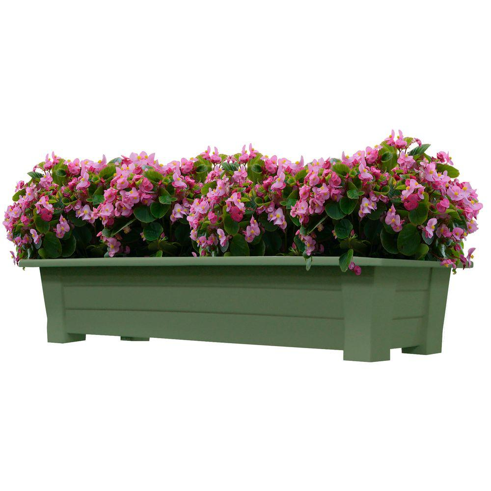 Adams Manufacturing 36 In X 15 In Sage Resin Deck Planter 9302 01 3700 The Home Depot Deck Planters Resin Decking Planters