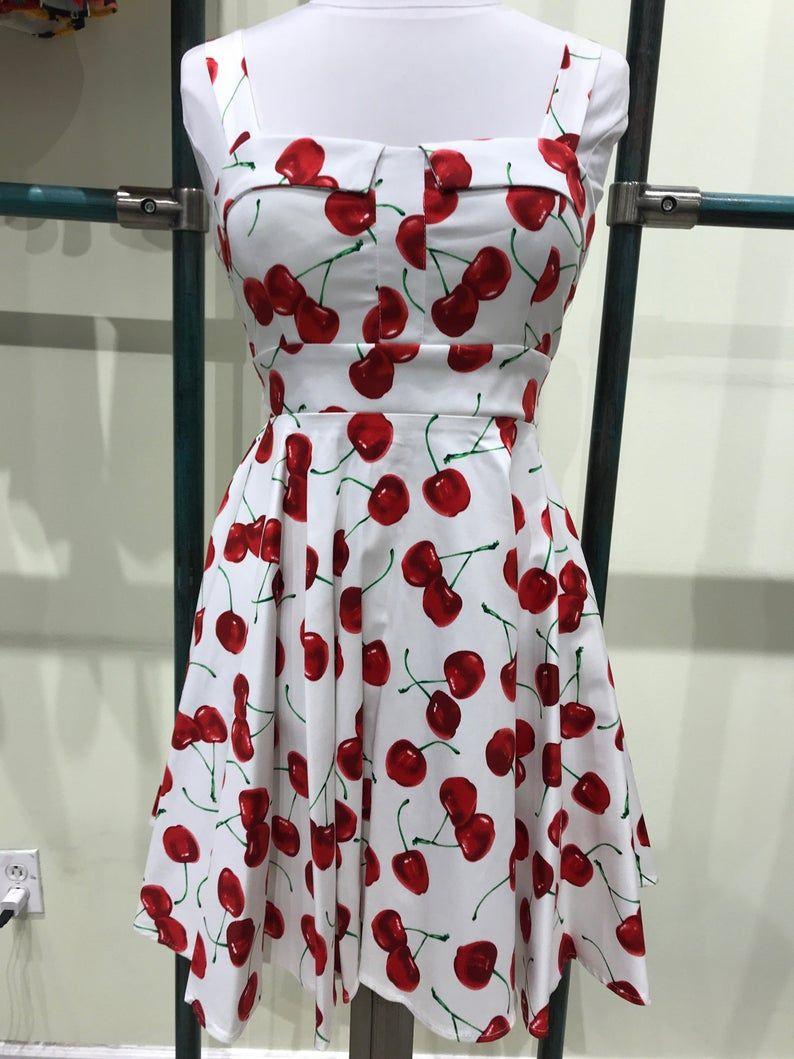 Eva Rose White Cherry Print Pinup Back Tie Fit Flare Dress Etsy Cherry Print Fit Flare Dress White Cherries [ 1059 x 794 Pixel ]