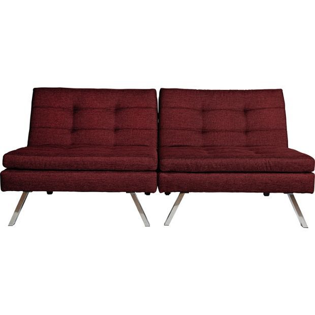 Hygena Duo 2 Seater Clic Clac Sofa Bed Red