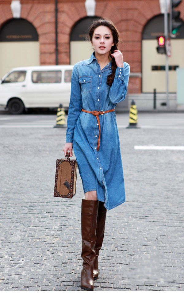 Free Shipping Women Casual Denim Dress,Nice Blue Jean Dress Ball ...
