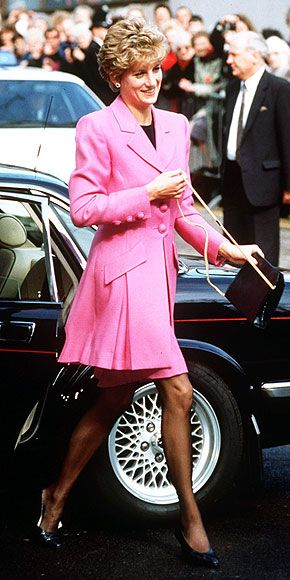 THE CHIC YEARS: 1992-1997 As Diana's self-assurance grew, her hemlines rose. She showed off her long legs in a short pink suit during a 1993 Manchester appearance.