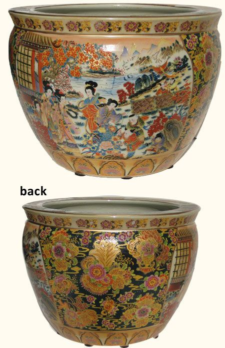 Oriental Furnishings Chinese Porcelain Fishbowl Planters In