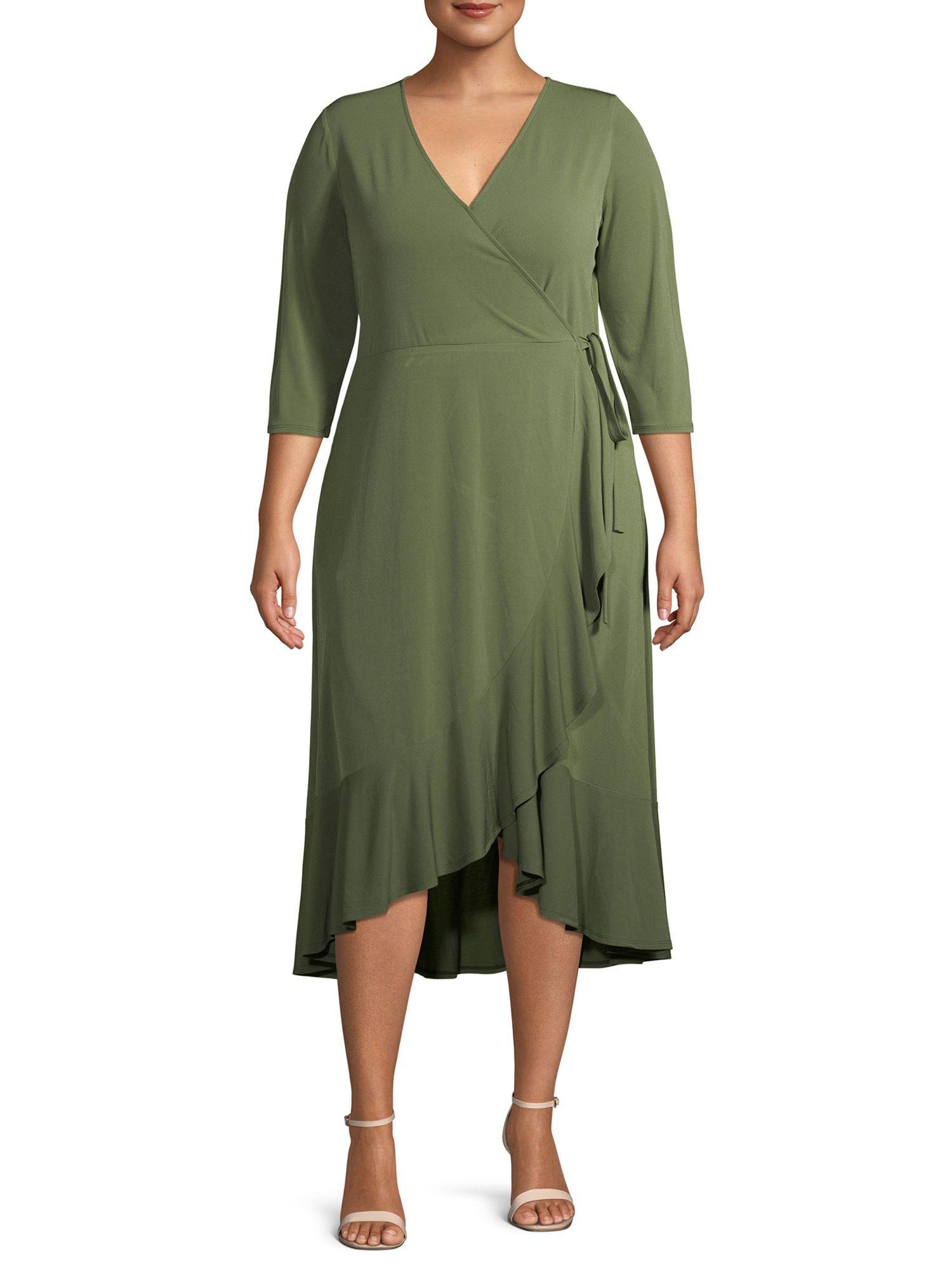 Terra Sky Terra Sky Women S Plus Size Solid Wrap Dress With Ruffle Detail Walmart Com Wrap Dress Sky Clothing Dresses [ 2000 x 1500 Pixel ]