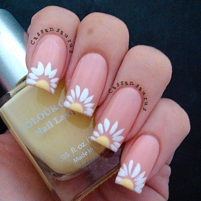 Cherry blossoms nails pinterest spring nails cherry love to do this wuth stiletto nails daisy white flower nail art on the tip of the nail prinsesfo Images
