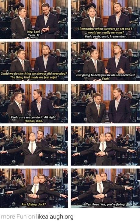 Jonah Hill and Leonardo DiCaprio being awesome