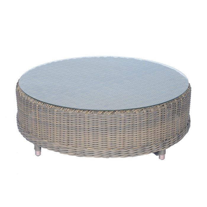 Hampton 36 Inch Round Glass Top Outdoor Coffee Table