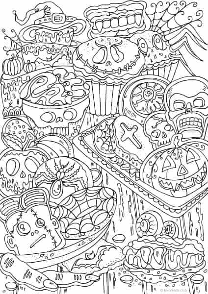 old fashioned halloween coloring pages | Halloween Cookies | omalovánky | Adult coloring pages ...