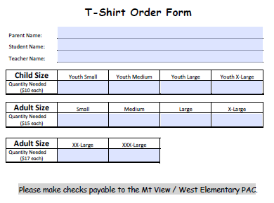 T-Shirt Order Form For 2 | T-Shirt Order Forms | Pinterest ... on pa forms, rca forms, pca forms, dual forms,