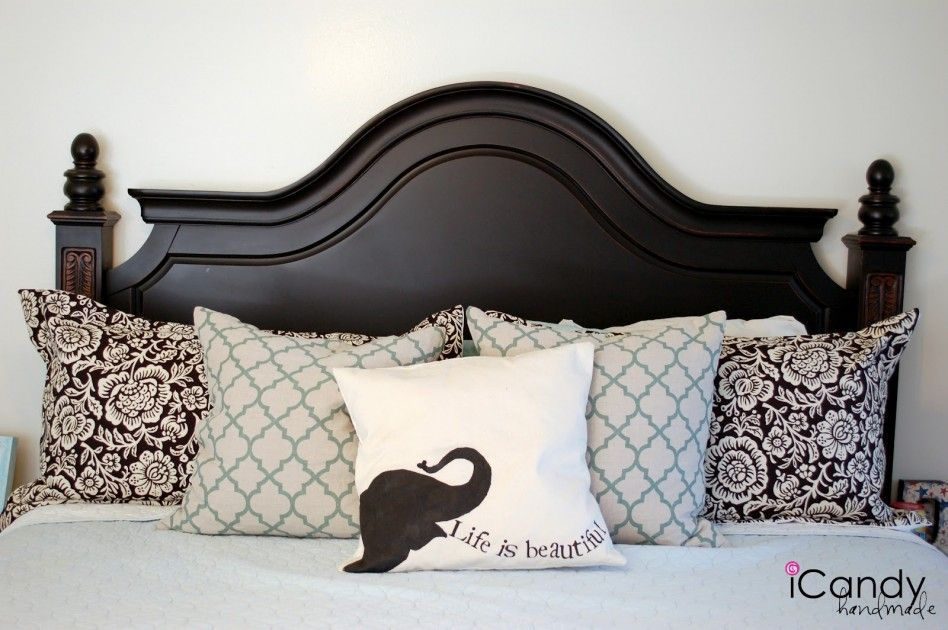 Wooden Headboard Bed Wood Including Black King Size Frame And Light Blue