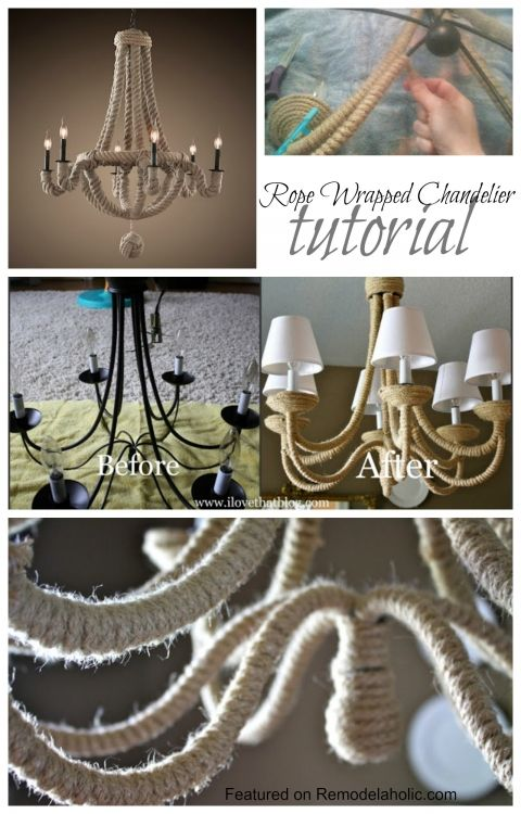 Rope wrapped chandelier tutorial light up my world pinterest knockoff diy chandelier inexpensive if you already have the chandelier but time consuming to do all the wrapping aloadofball Image collections