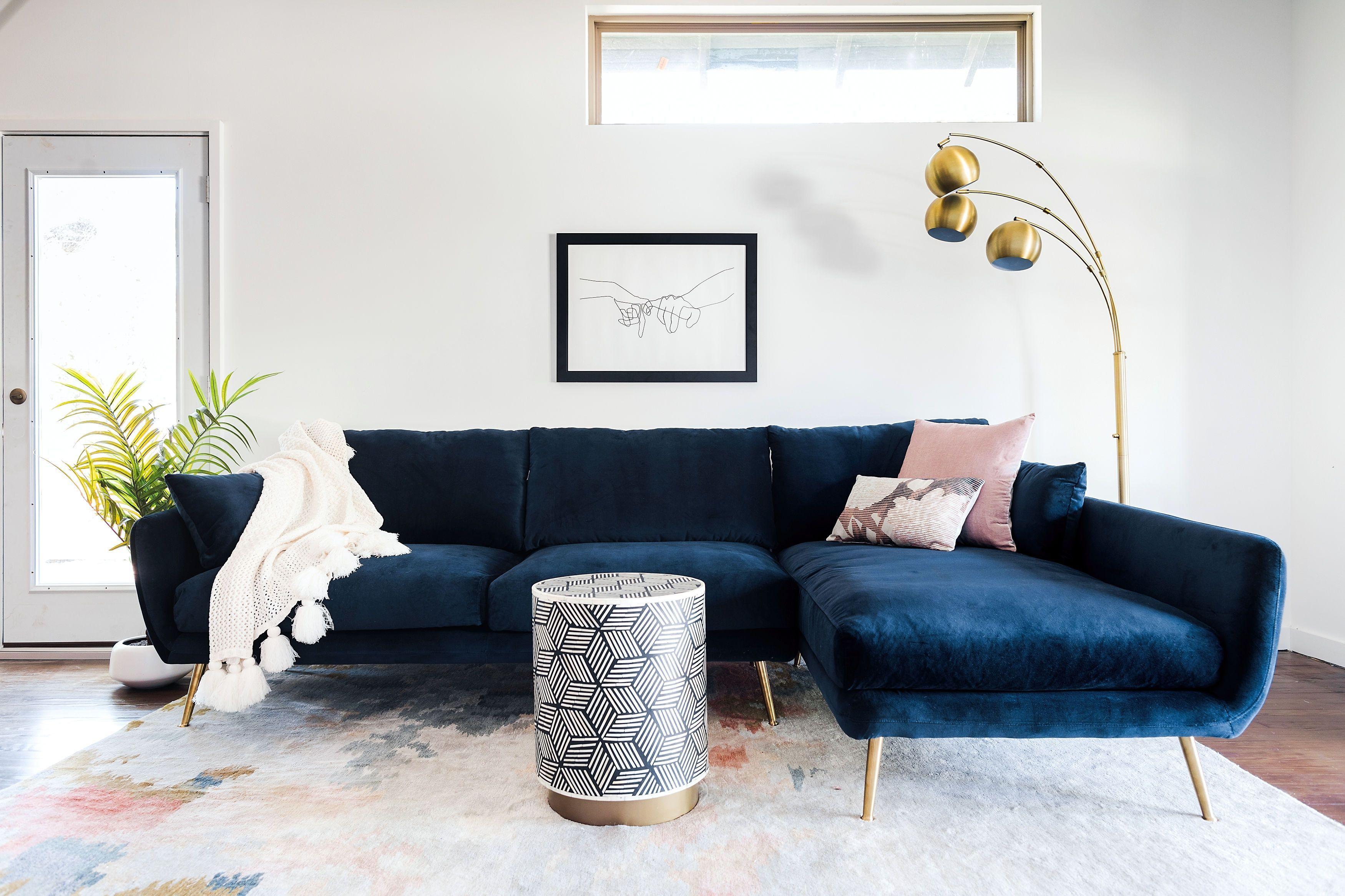 Harlow Sectional Sofa Midnight Blue Velvet Edloe Finch Furniture Co Blue Couch Living Room Blue Sofas Living Room Velvet Couch Living Room