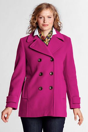 Women's Outerwear & Outdoor Clothing   Lands' End wool pea coat 22w in bright magenta