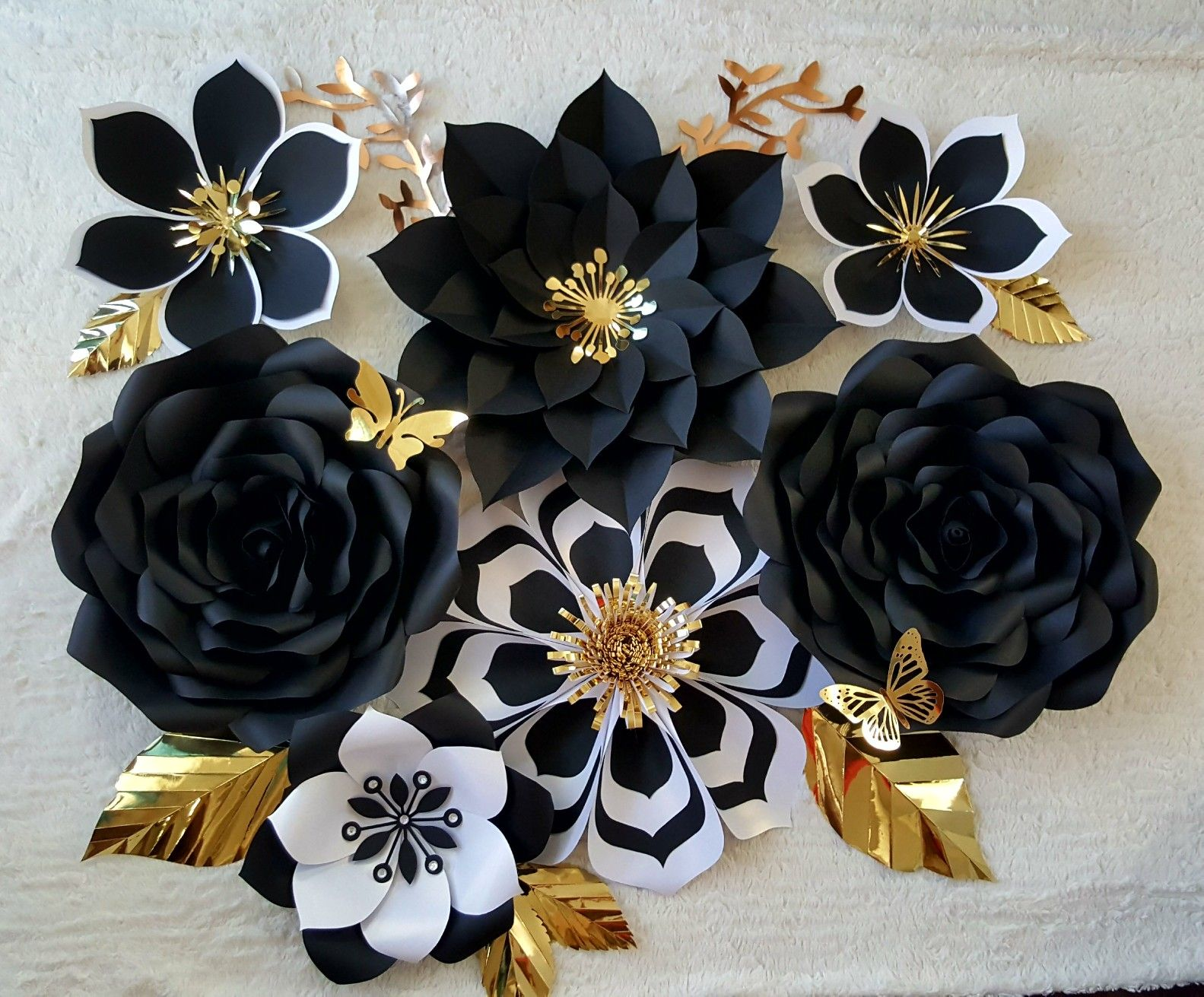 Whimsical Black &White Paper Flower Set #largepaperflowers