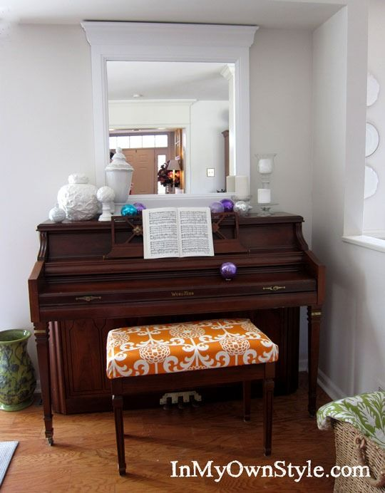 how to make a no sew fabric covered cushion piano bench bench covers and pianos. Black Bedroom Furniture Sets. Home Design Ideas