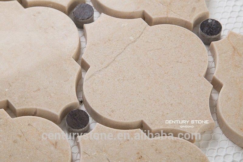 Beige Cream Marfil Polished Arabesque Lantern Marble Mosaic Backsplash Wall Tiles Buy Marble Mosaic Back Marble Mosaic Backsplash Marble Accents Mosaic Tiles