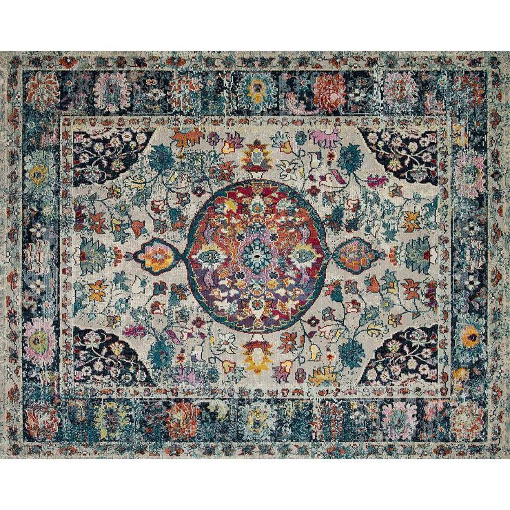 B518 Luna Nvy Mlt Frng 7x9 Area Rugs Rugs Colorful Rugs
