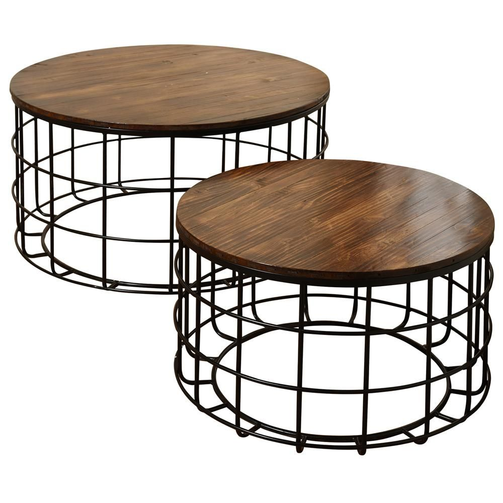 Stylecraft Round Wood Nested Chinese Cherry Wood Top Black Powder Coat Frame Coffee Tables Set 2 Piece Sf225130ds The Home Depot Coffee Table Wood Iron Coffee Table Nesting Coffee Tables [ 1000 x 1000 Pixel ]